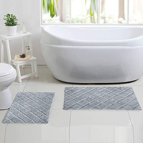 100 Cotton Bath Rug 2 Piece Set 21x3217x24 Cotton Impression Bath Mat Rug Grey 0 0