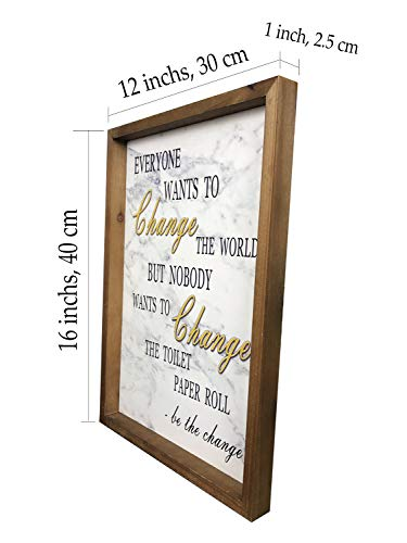 Delidecor 12 X16 Wooden Bathroom Placard Marble Texture Funny Rustic Wood Framed Wall Hanging Quote Sign Wall Art Farmhouse Goals