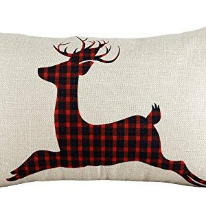 12x20 Christmas Throw Pillow Covers Decorative Outdoor Farmhouse Buffalo Plaid Plad Merry Christmas Xmas Lumbar Pillow Shams Cases Slipcovers Cover Set Of 2 Couch Sofa 0 300x300