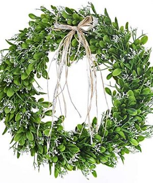 16 Inch Artificial Green Leaf Wreath With Bow Spring Front Door Wreath St Patricks Day Wreaths For Front Door 0 300x360