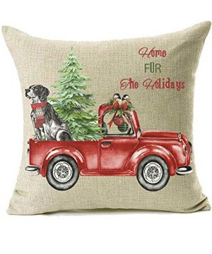 18x18 Christmas Throw Pillow Covers Set Of 2 Decorative Farmhouse Outdoor Merry Christmas Xmas Cushion Lumbar Pillow Shams Cover Cases Red Truck Tree Dog Cat Couch Sofa 0 0 300x360