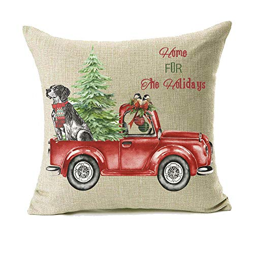 18x18 Christmas Throw Pillow Covers Set Of 2 Decorative Farmhouse Outdoor Merry Christmas Xmas Cushion Lumbar Pillow Shams Cover Cases Red Truck Tree Dog Cat Couch Sofa 0 0