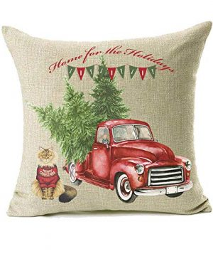 18x18 Christmas Throw Pillow Covers Set Of 2 Decorative Farmhouse Outdoor Merry Christmas Xmas Cushion Lumbar Pillow Shams Cover Cases Red Truck Tree Dog Cat Couch Sofa 0 1 300x360
