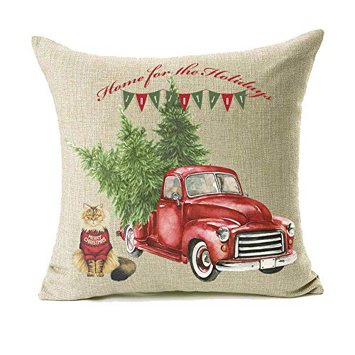 18x18 Christmas Throw Pillow Covers Set Of 2 Decorative Farmhouse Outdoor Merry Christmas Xmas Cushion Lumbar Pillow Shams Cover Cases Red Truck Tree Dog Cat Couch Sofa 0 1