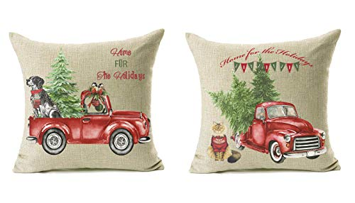 18x18 Christmas Throw Pillow Covers Set Of 2 Decorative Farmhouse Outdoor Merry Christmas Xmas Cushion Lumbar Pillow Shams Cover Cases Red Truck Tree Dog Cat Couch Sofa 0