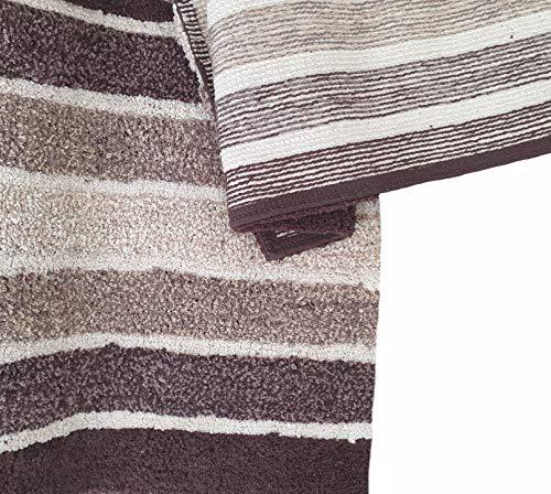 2 Piece Cotton Alpine Stripe Bath Rug Set 100 Cotton Bath Mat Rug 21x3217x24 Soft Absorbent Machine Washable Brown Beige 0 1