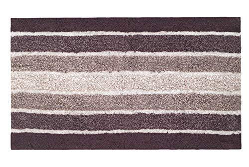 2 Piece Cotton Alpine Stripe Bath Rug Set 100 Cotton Bath Mat Rug 21x3217x24 Soft Absorbent Machine Washable Brown Beige 0 2