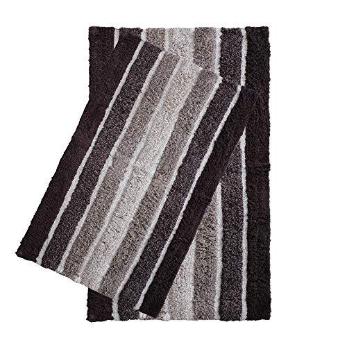 2 Piece Cotton Alpine Stripe Bath Rug Set 100 Cotton Bath Mat Rug 21x3217x24 Soft Absorbent Machine Washable Brown Beige 0 4