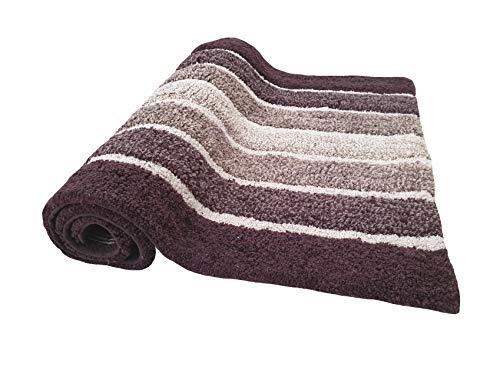 2 Piece Cotton Alpine Stripe Bath Rug Set 100 Cotton Bath Mat Rug 21x3217x24 Soft Absorbent Machine Washable Brown Beige 0