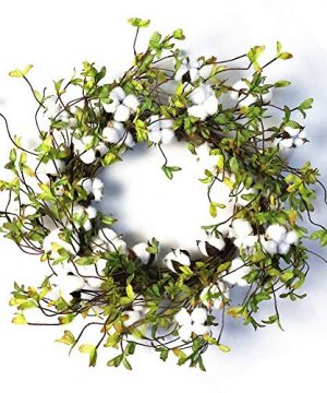 22 Cotton Wreath Farmhouse Natural Cotton Boll Rustic Floral Round Wreath With Artificial Green Leaves For Outdoor Indoor Wedding Centerpiece Welcome Decor 0 300x360