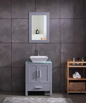 24 Grey Bathroom Vanity Cabinet And Sink Combo Glass Top MDF Wood WSink Faucet Drain Set 0 300x360