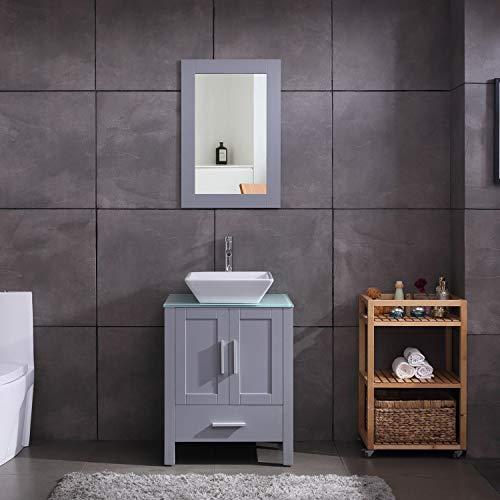 "24"" Grey Bathroom Vanity Cabinet and Sink Combo Glass Top ..."