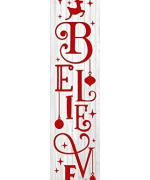 24 Inch Red And White Believe Christmas Vertical Wood Print Sign 0 300x360