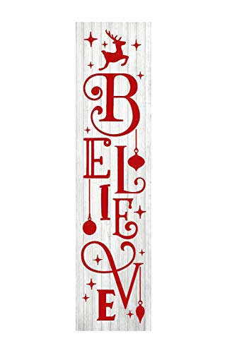 24 Inch Red And White Believe Christmas Vertical Wood Print Sign 0