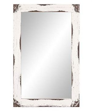 24x36 Distressed White Reclaimed Wood Wall Mirror 0 300x360