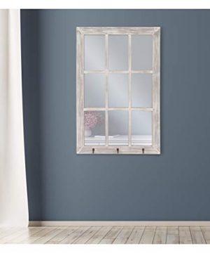 24x36 Distressed White Windowpane Wall Mirror With Hooks 0 3 300x360