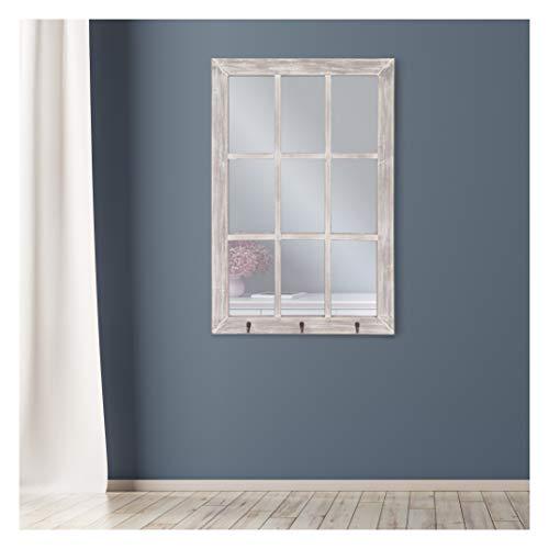 24x36 Distressed White Windowpane Wall Mirror With Hooks 0 3