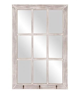24x36 Distressed White Windowpane Wall Mirror With Hooks 0 300x360