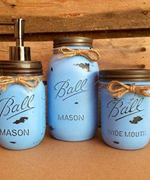 3 Piece Rustic Farmhouse Blue Mason Jar Bathroom Set 0 300x360