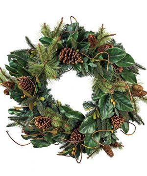 30 Inch Artificial Christmas Wreath Magnolia Leaf Collection Natural Decoration Pre Lit With 50 Warm Clear Colored LED Mini Lights Includes Remote Controlled Battery Pack With Timer 0 0 300x360