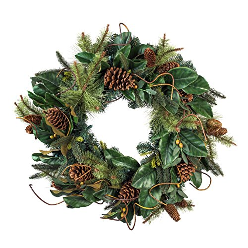 30 Inch Artificial Christmas Wreath Magnolia Leaf Collection Natural Decoration Pre Lit With 50 Warm Clear Colored LED Mini Lights Includes Remote Controlled Battery Pack With Timer 0 0