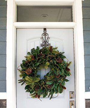 30 Inch Artificial Christmas Wreath Magnolia Leaf Collection Natural Decoration Pre Lit With 50 Warm Clear Colored LED Mini Lights Includes Remote Controlled Battery Pack With Timer 0 1 300x360