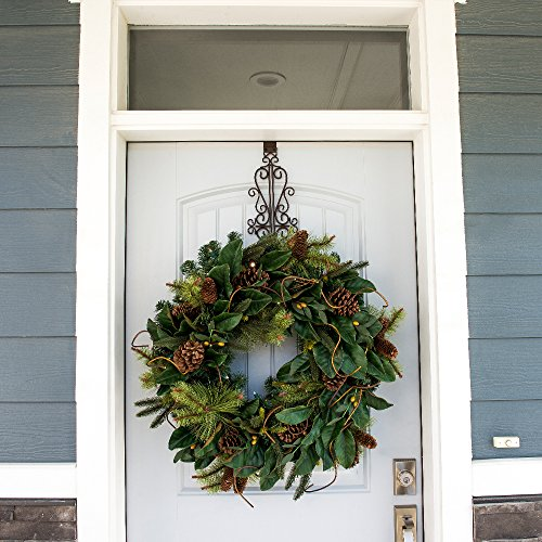 30 Inch Artificial Christmas Wreath Magnolia Leaf Collection Natural Decoration Pre Lit With 50 Warm Clear Colored LED Mini Lights Includes Remote Controlled Battery Pack With Timer 0 1