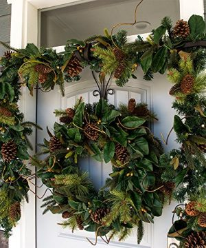 30 Inch Artificial Christmas Wreath Magnolia Leaf Collection Natural Decoration Pre Lit With 50 Warm Clear Colored LED Mini Lights Includes Remote Controlled Battery Pack With Timer 0 3 300x360