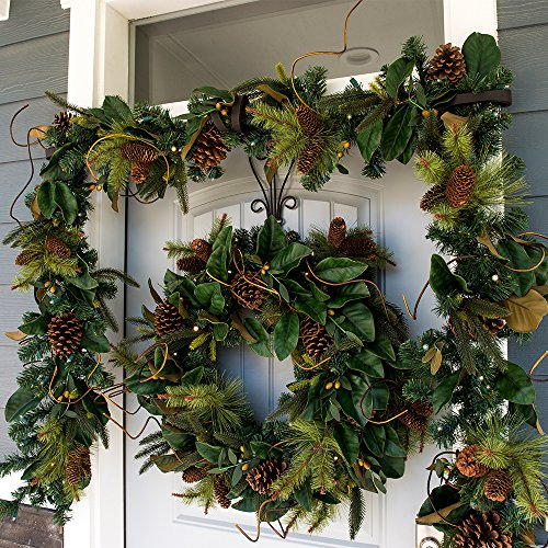 30 Inch Artificial Christmas Wreath Magnolia Leaf Collection Natural Decoration Pre Lit With 50 Warm Clear Colored LED Mini Lights Includes Remote Controlled Battery Pack With Timer 0 3