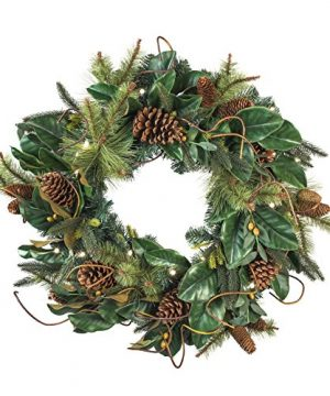 30 Inch Artificial Christmas Wreath Magnolia Leaf Collection Natural Decoration Pre Lit With 50 Warm Clear Colored LED Mini Lights Includes Remote Controlled Battery Pack With Timer 0 300x360