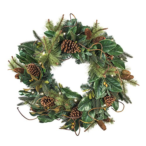 30 Inch Artificial Christmas Wreath Magnolia Leaf Collection Natural Decoration Pre Lit With 50 Warm Clear Colored LED Mini Lights Includes Remote Controlled Battery Pack With Timer 0