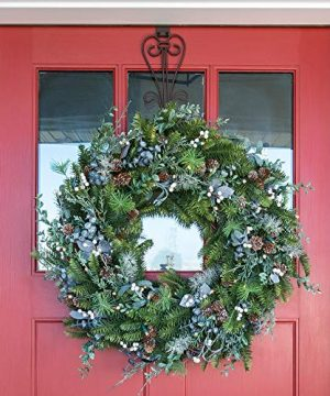 30 Inch Artificial Christmas Wreath Rustic White Berry Collection Natural Decoration Pre Lit With 50 Warm Clear Colored LED Mini Lights Includes Remote Controlled Battery Pack With Timer 0 0 300x360