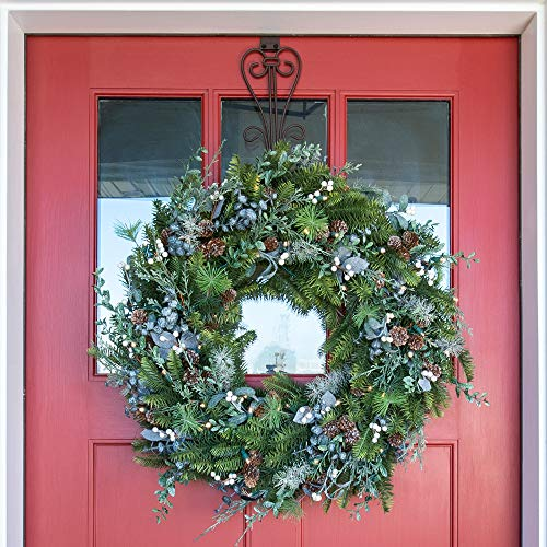 30 Inch Artificial Christmas Wreath Rustic White Berry Collection Natural Decoration Pre Lit With 50 Warm Clear Colored LED Mini Lights Includes Remote Controlled Battery Pack With Timer 0 0