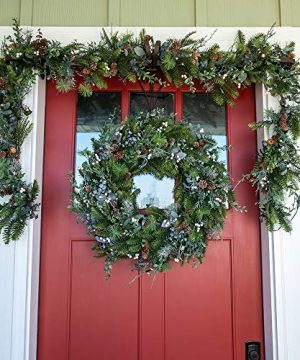 30 Inch Artificial Christmas Wreath Rustic White Berry Collection Natural Decoration Pre Lit With 50 Warm Clear Colored LED Mini Lights Includes Remote Controlled Battery Pack With Timer 0 3 300x360