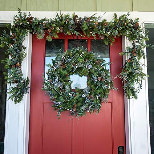 30 Inch Artificial Christmas Wreath Rustic White Berry Collection Natural Decoration Pre Lit With 50 Warm Clear Colored LED Mini Lights Includes Remote Controlled Battery Pack With Timer 0 3