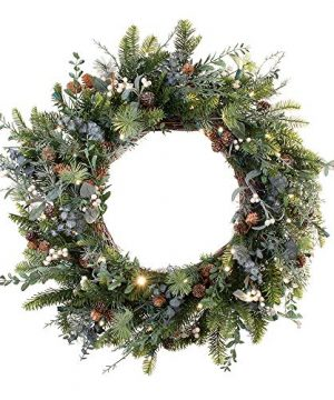 30 Inch Artificial Christmas Wreath Rustic White Berry Collection Natural Decoration Pre Lit With 50 Warm Clear Colored LED Mini Lights Includes Remote Controlled Battery Pack With Timer 0 300x360