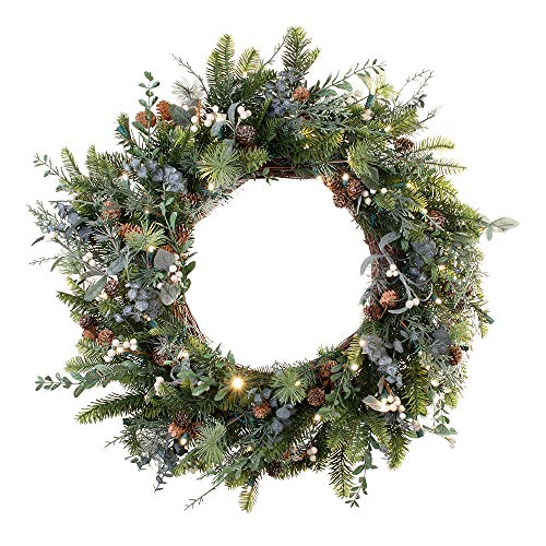 30 Inch Artificial Christmas Wreath Rustic White Berry Collection Natural Decoration Pre Lit With 50 Warm Clear Colored LED Mini Lights Includes Remote Controlled Battery Pack With Timer 0
