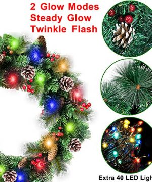 30 Inch Christmas Wreath With 80 Colorful Lights Snow Tipped 12 Pine 60 Red Berries 220 Branches Xmas Wreath For Front Doors Home Walls Window Stairs Fireplace Decoration 0 0 300x360