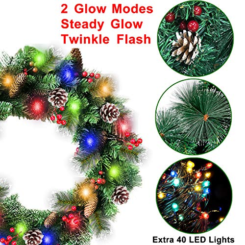30 Inch Christmas Wreath With 80 Colorful Lights Snow Tipped 12 Pine 60 Red Berries 220 Branches Xmas Wreath For Front Doors Home Walls Window Stairs Fireplace Decoration 0 0