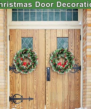 30 Inch Christmas Wreath With 80 Colorful Lights Snow Tipped 12 Pine 60 Red Berries 220 Branches Xmas Wreath For Front Doors Home Walls Window Stairs Fireplace Decoration 0 1 300x360