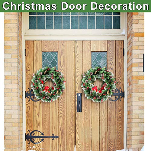 30 Inch Christmas Wreath With 80 Colorful Lights Snow Tipped 12 Pine 60 Red Berries 220 Branches Xmas Wreath For Front Doors Home Walls Window Stairs Fireplace Decoration 0 1