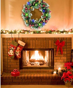 30 Inch Christmas Wreath With 80 Colorful Lights Snow Tipped 12 Pine 60 Red Berries 220 Branches Xmas Wreath For Front Doors Home Walls Window Stairs Fireplace Decoration 0 2 300x360