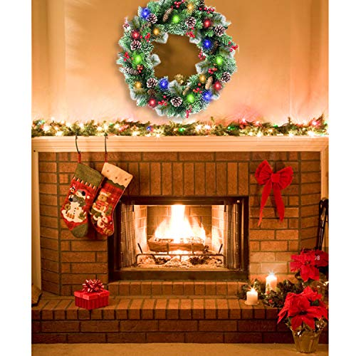30 Inch Christmas Wreath With 80 Colorful Lights Snow Tipped 12 Pine 60 Red Berries 220 Branches Xmas Wreath For Front Doors Home Walls Window Stairs Fireplace Decoration 0 2
