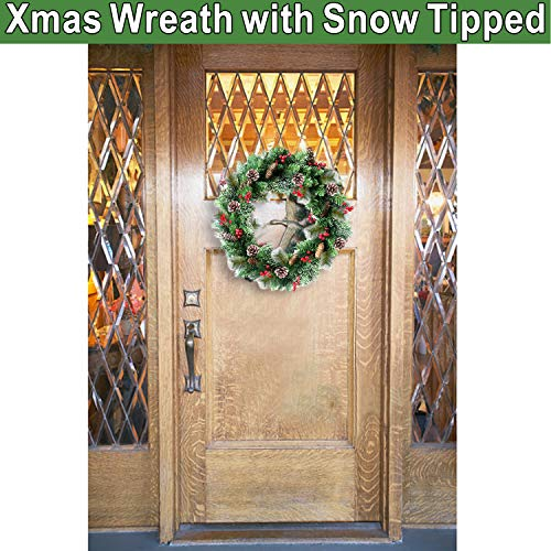 30 Inch Christmas Wreath With 80 Colorful Lights Snow Tipped 12 Pine 60 Red Berries 220 Branches Xmas Wreath For Front Doors Home Walls Window Stairs Fireplace Decoration 0 3