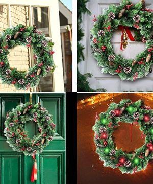 30 Inch Christmas Wreath With 80 Colorful Lights Snow Tipped 12 Pine 60 Red Berries 220 Branches Xmas Wreath For Front Doors Home Walls Window Stairs Fireplace Decoration 0 4 300x360