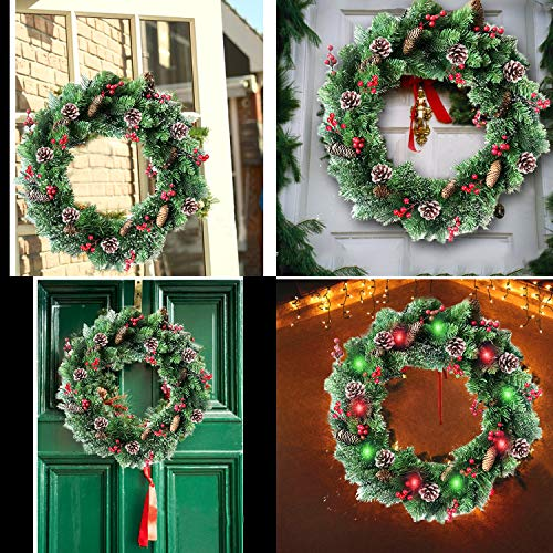 30 Inch Christmas Wreath With 80 Colorful Lights Snow Tipped 12 Pine 60 Red Berries 220 Branches Xmas Wreath For Front Doors Home Walls Window Stairs Fireplace Decoration 0 4