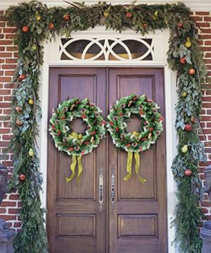 30 Inch Christmas Wreath With 80 Colorful Lights Snow Tipped 12 Pine 60 Red Berries 220 Branches Xmas Wreath For Front Doors Home Walls Window Stairs Fireplace Decoration 0 5 300x360