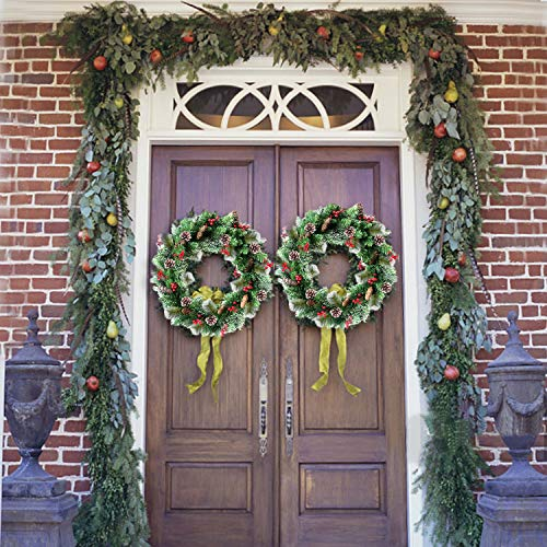 30 Inch Christmas Wreath With 80 Colorful Lights Snow Tipped 12 Pine 60 Red Berries 220 Branches Xmas Wreath For Front Doors Home Walls Window Stairs Fireplace Decoration 0 5