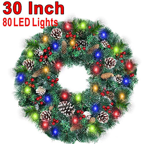 30 Inch Christmas Wreath With 80 Colorful Lights Snow Tipped 12 Pine 60 Red Berries 220 Branches Xmas Wreath For Front Doors Home Walls Window Stairs Fireplace Decoration 0