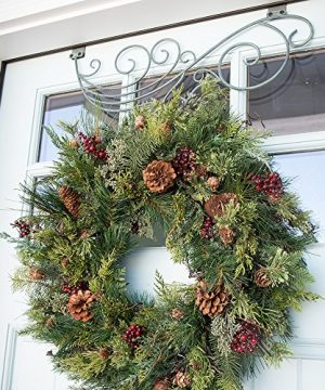 30 In Artificial Pre Lit LED Decorated Christmas Wreath Rustic Pine And Berry Decorations 50 Super Mini Warm Clear Colored Lights With Timer Battery Pack For Indoor And Outdoor Use 0 0 300x360